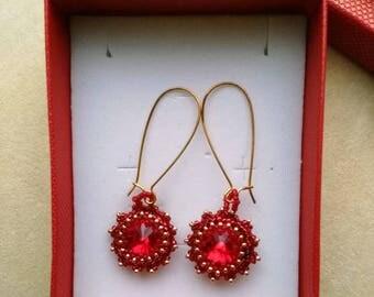 Beaded Dangle Earrings. Beaded Red Swarowski Earrings . Cranberry, Garnet  . Stones Gemstones - Elegant Swarovski by enchantedbeads on Etsy