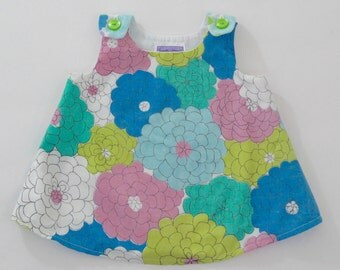 Baby Girls' Dress, Baby Shower Gift, Blue and Green Vintage Retro Floral Dress Girls' Clothing - Size 3 - 6 months & 6 - 12 months