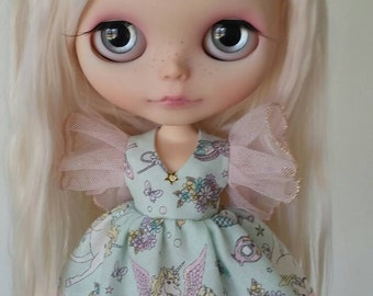 Mint Green Unicorn Wing dress for Blythe and Pullip