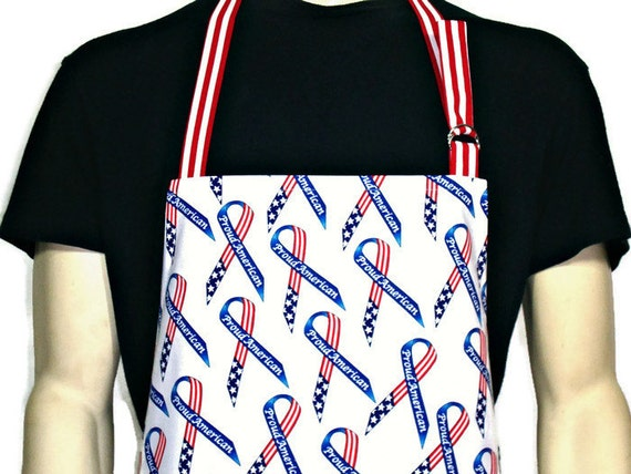 American Flag Ribbons Apron , Professional Chef Style Apron , Adjustable with Pocket , Red White and Blue , Patriotic kitchen decor