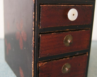 Vintage Small Wood Chest of Drawers with Tie Tacks and Cufflinks