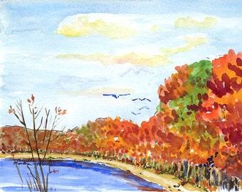 Original watercolor painting - Massapequa Preserve