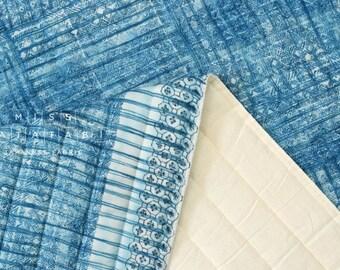 Japanese Fabric Nani Iro Orisome quilted double gauze - kujakuao - 50cm