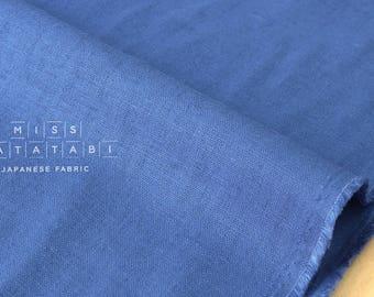 Japanese Fabric Half Linen Solids - blue -  50cm