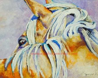 "Original palomino Horse Oil Painting 12""X16"""