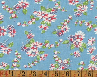 Vintage Feedsack Fabric - Red and White Daisies on Blue - Quilting Cotton 1940s 1950s