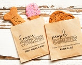 Dog Lover's Wedding - Doggie Treats - Personalized Wedding Favor Bag - Paper Bag for Cookies and Baked Goods - 20 Grease Resistant Bags