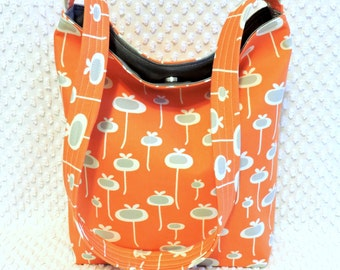August Fields Fresh Start Orange and Gray Floral Pods Slouch Purse