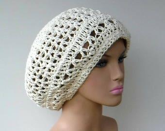 Hemp cotton slouchy beanie, off white hemp cotton beret slouchy hat, summer slouch woman beanie smaller dread tam hat, open stitch hat cream
