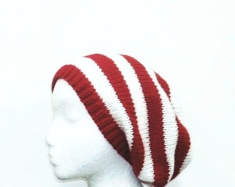 Knit hat red womens hat - beret hat in red white knit hat red hat red beanie red beret womens accessories READY TO SHIP
