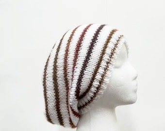 Knitted oversized Slouch hat white with colorful stripes 5285