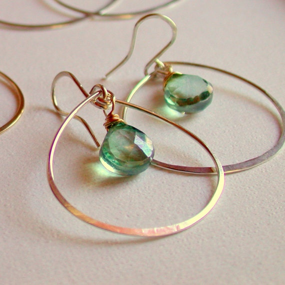 Petal Hoops with Green Mystic Quartz. Sterling hoop with gemstone.  Green Gemstone Hoops. Gold fill hoops with gemstone.