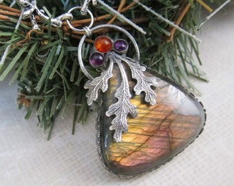 In The Grove of the Hesperides II - Magical Purple Talisman with Amethyst and Amber