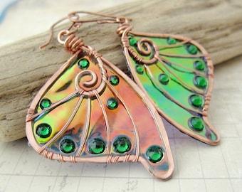 Sihaya Designs Faery Wing Earrings - Tam Lin - Iridescent Fairy Wing Jewelry