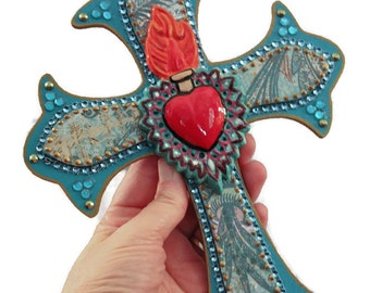 Sacred Heart Mexican Milagro Wooden Cross