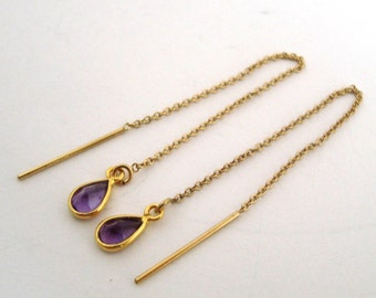 Purple Amethyst 14k yellow gold filled ear threader cable chain earring threader