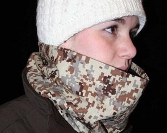 ON SALE neckwarmer, cowl scarf, Digital Camoflauge black fleece