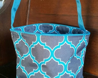 Personalized Monogrammed Bucket - Grey and Turquoise quadrefoil