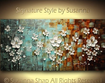 ORIGINAL Contemporary Landscape Art White Flowers Textured Modern Brown Blue Oil Painting by Susanna Ready to Hang 48x24