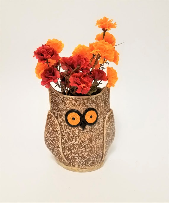 Owl Vase - Ceramic Owl - Pottery - Stoneware - Utensil Holder - Graduation Gift - Owl Collector - Bird Collector - Vase - Planter