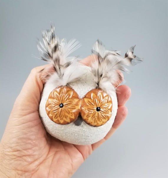 Meditation Rattle - Shaman Rattle - Spirit Rattle - Handmade Pottery - Owl - Meditation Altar - Spiritual - Rattle - Relaxation Gift