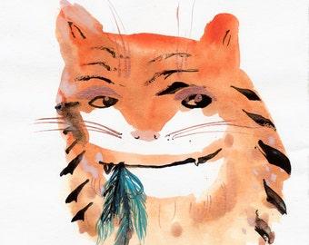 Assasin Cat Original / ink drawing
