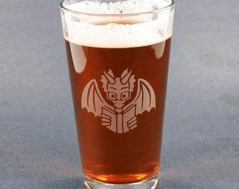 Book Dragon Pint Glass - bookish nerdy reading dragon