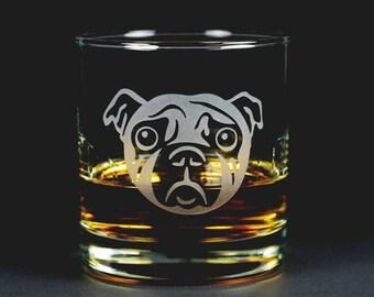 Pug Dog Lowball Glass