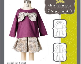 Clever Charlotte PATTERN - Orchid Top & Skirt - Sizes 2T-8