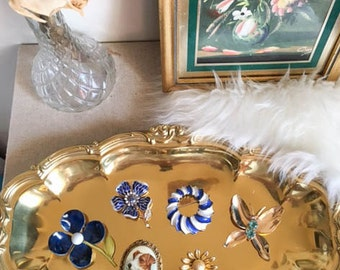 Sweet Vintage 70s Gold Brass Ornate Vanity Jewelry Tray