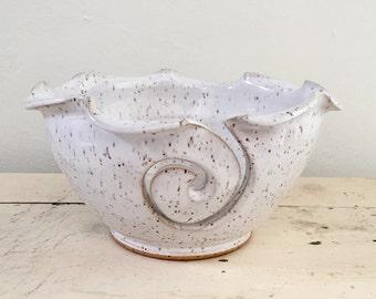 Yarn Bowl, Knitting bowl, craft supplies White Handmade ceramic pottery