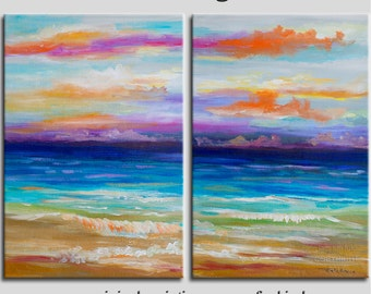 Beach art abstract painting turquoise Sea Colorful Sky Landscape Painting by Tim Lam 48x36