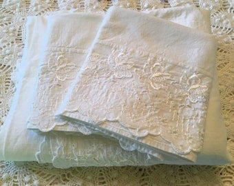 New Old Stock Cotton Bed Linens - Flat Sheet with Pillowcases - Wabasso Linens Schiffli Embroider - All White Bedding - Farmhouse Bedding