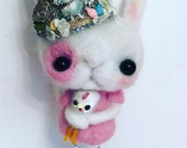 Rabbit and rooster Bffs Ooak   art doll
