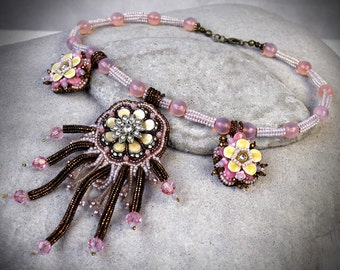 Embroidered necklace - flower bib necklace - flower lover jewelry - Pink Embroidered Pendant - Powder Pink Necklace Pastel Bib Necklace -