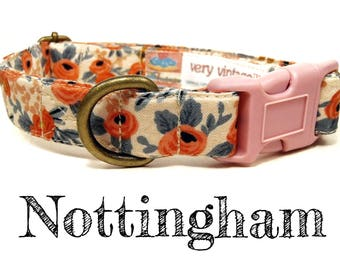 "Vintage Insprired Shabby Chic Peach Coral Floral Flowers Dog Collar - Antique Brass Hardware - ""Nottingham"""
