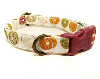Donut Run - Whimsical Playful Fun Unique Donuts Doughnuts Organic Cotton CAT Collar - All Antique Brass Hardware