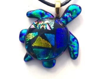 Dichroic Glass Turtle Pendant,jewelry,necklace,holiday gift for her
