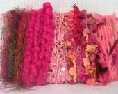 Scrap Yarn Art Bundle Pink Fibers 1316