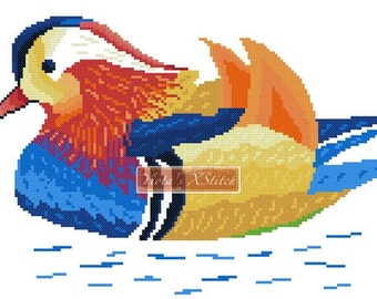 Rainbow mandarin duck - modern cross stitch kit