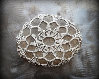 Crocheted Lace Stone, Bohemian, Folk Art, Original, Handmade, Home Decor, Collectible, Monicaj