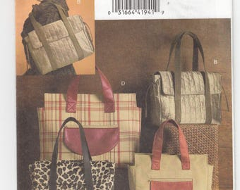 Vogue 8439 Satchel Bags Four Styles Lined Handles Flaps Inside Pockets Sewing Pattern Uncut