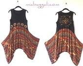 S - L ~ Bleach Distressed Tribal Tank Sun Dress / Top / Tunic ~  lagenlook teen dress handmade upcycled hippie boho chic wearable art
