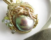 RESERVED Olive on Fire Necklace - FIreball Freshwater Pearl, Sapphires, 14k and Rose Gold Fill Wrapped