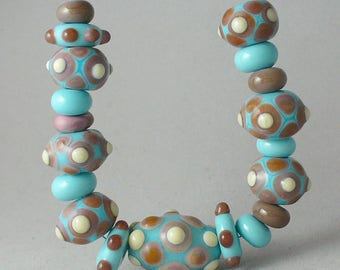 SRA Lampwork Handmade Glass Beads by Catalinaglass  Turquoise and Peach