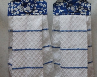SET OF 2 - Hanging Cloth Top Kitchen Hand Towels - Blue and White Tropical Floral Print, Larger WHITE and Blue Towels