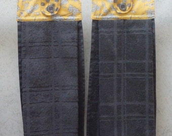SET OF 2 - Hanging Cloth Top Kitchen Hand Towels - Yellow and Grey Floral Polka Dot Print, Larger Charcoal Gray Towels