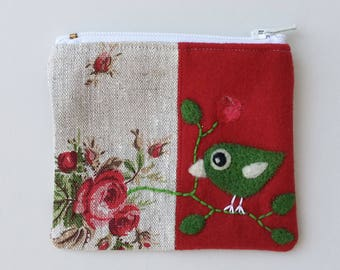 Zippered coin purse pouch purse red wool rosy linen fabric with a needle felted birdie bird roses