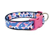2016 TIC TAC TILE Dog Collar Made from Lilly Pulitzer Fabric on Blue Size: Your Choice