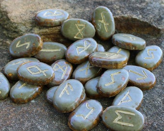 Elder Futhark Rune Set - oval, dark moss green
